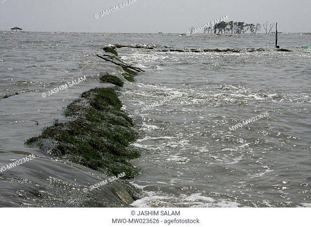 Waters from the Bay of Bengal rushing past the coastal areas of Chittagong, after cyclone Aila hits Bangladesh on May 25