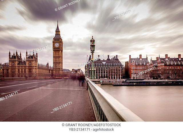 Big Ben, Westminster Bridge and The River Thames, London, England