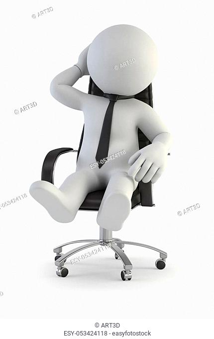 supervisor manager in chair, Isolated white background