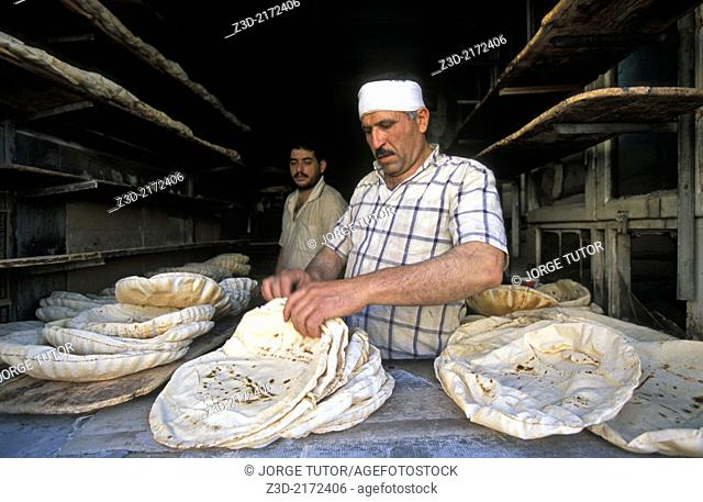 Man making bread in Ma'loula, Maaloula, or Ma'lula. Syria