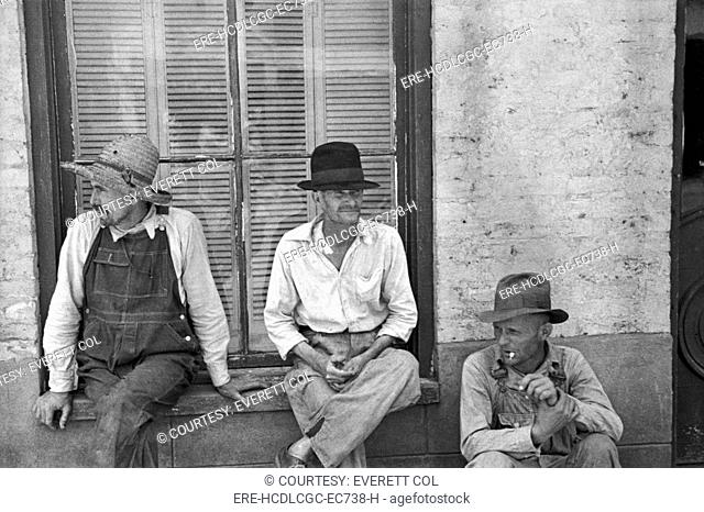 Frank Tengle, Bud Fields, and Floyd Burroughs, cotton sharecroppers. Hale County, Alabama. Published in the book, 'Let Us Now Praise Famous Men'