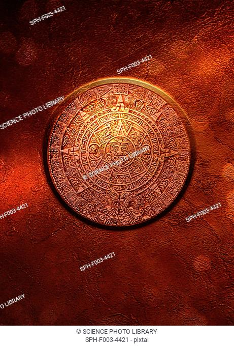 Aztec Sun Stone, computer artwork. This carved stone is also known as the Aztec Calendar Stone