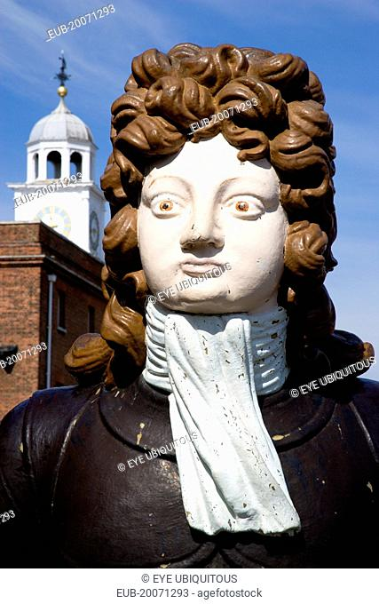 Ships figurehead from HMS Benbow dated 1813 at The Historic Naval Dockyard