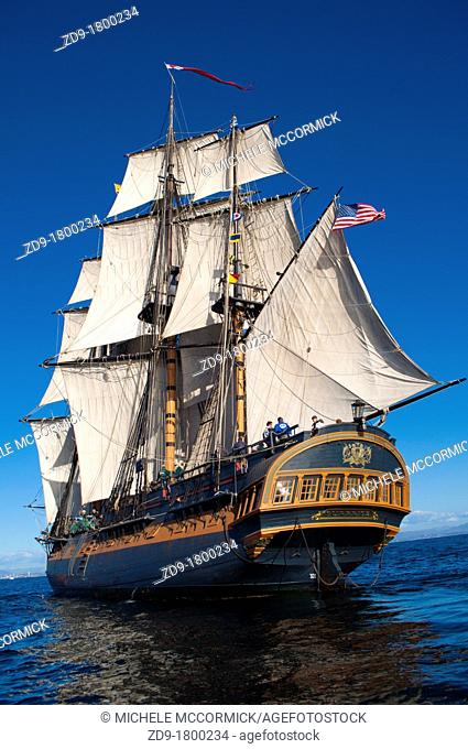 HMS Surprise, created in 1970 for the movie Master and Commander, sails the San Diego Bay