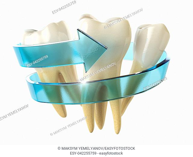 Tooth protection concept. Teeth with blue arrow isolated on white background. 3d illustration