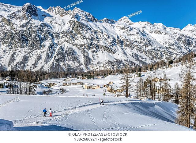Winter Landscape in Val Fex in the Engadine, Grisons, Switzerland