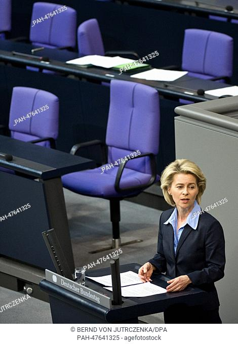 German Defence Minister Ursula von der Leyen (CDU) speaks about the participation of 300 German soldiers for the destruction of chemical weapons during the...