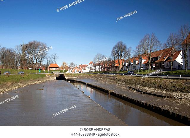 old historical peat harbour of Tönning, Schleswig-Holstein, Germany, Europe
