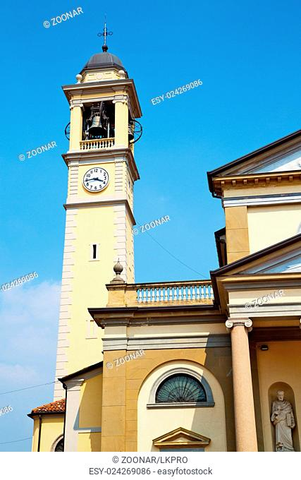 ancien clock to in italy europe old stone and bell