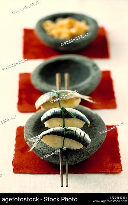 Nigiri sushi with sardines