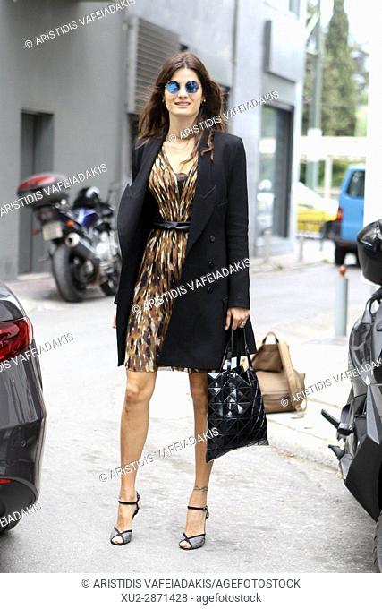 Brazilian supermodel ISABELI FONTANA arrives at the Celia Kritharioti Atelier in Athens. Greek designer Celia Kritharioti present tonight the Spring Summer 2017...