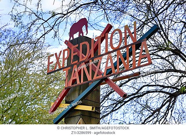 """""""""""Expedition Tanzania"""" sign at the entrance to the Elephant area in Reid Park Zoo in Tucson, AZ"