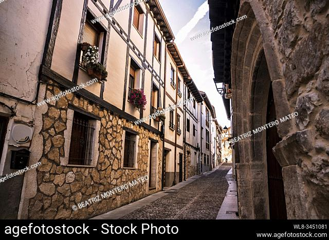 Streets of Covarrubias in Burgos, Spain