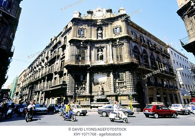 Palermo, Sicily  Quattro Canti, street crossing landmark in Palermo city centre  Italy