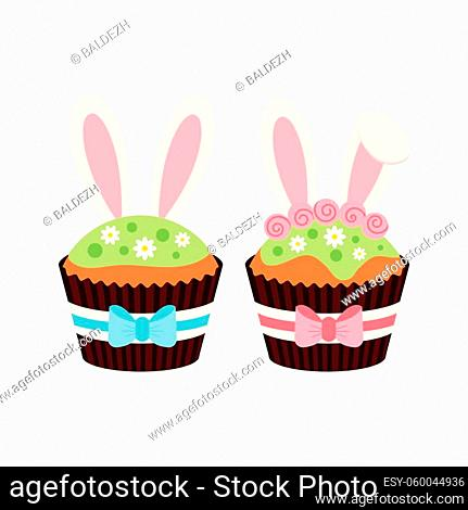 Easter cupcakes with bunny ears set isolated on white background. Cake sweets food muffin with bunny rabbit boy and girl ears