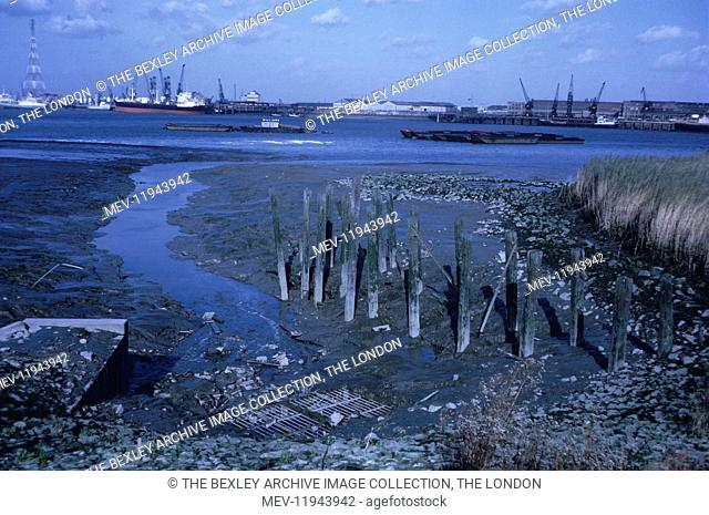 The River Thames taken near Crossness. Notice the Power Pylons that at the time carried electricity across the river. They have since been demolished