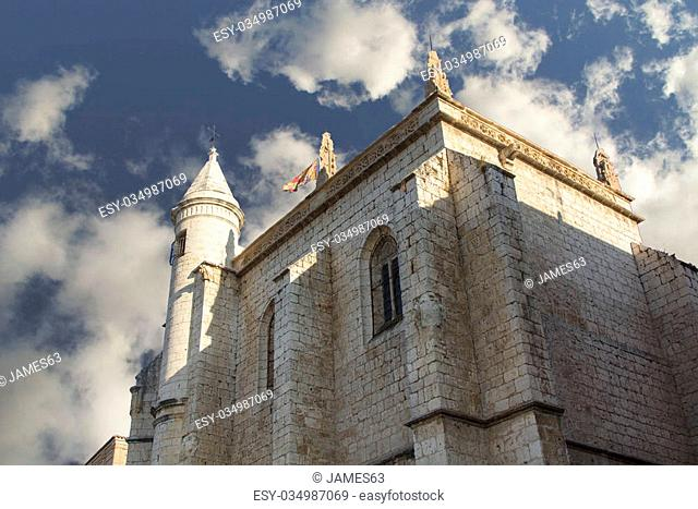 Old church with blue sky and clouds, city Tordesillas, Spain