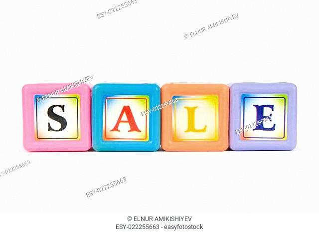 Blocks with Sale word isolated on white