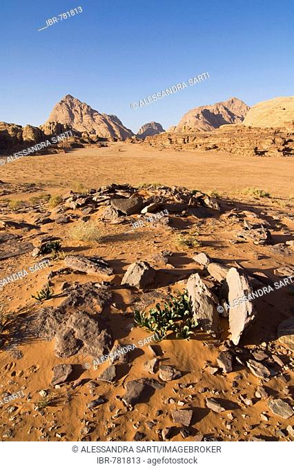 Rock formations in the desert, Wadi Rum, Jordan, Middle East