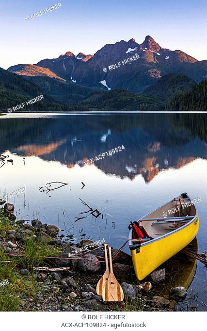 Canoe at Huson Lake, Northern Vancouver Island, British Columbia, Canada