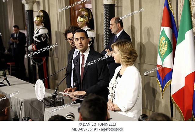 Italian politician Luigi Di Maio, leader of the Five Star Movement, with his colleagues Danilo Toninelli and Giulia Grillo at Quirinale after a round of...