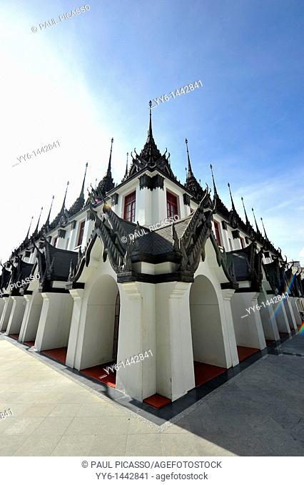 wide angle shot of Loha Prasat at wat ratchanadda, bangkok, Thailand