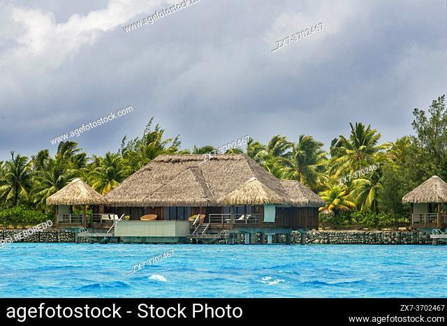 Overwater bungalows of Hilton bora Bora Nui Resort hotel in Bora bora Island