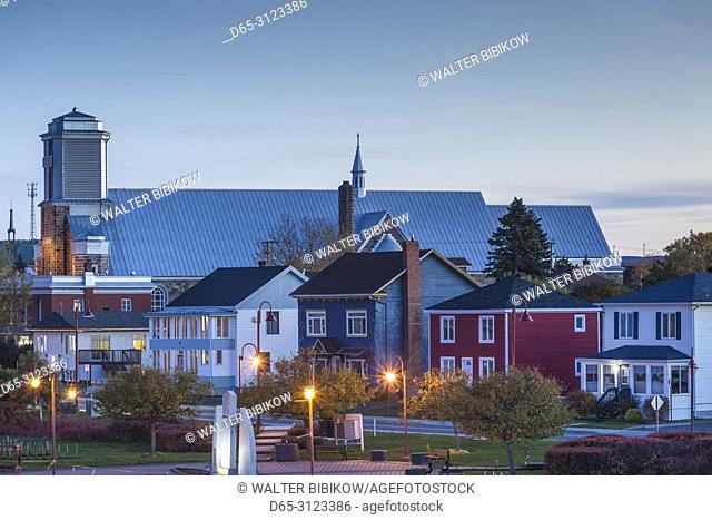 Canada, Quebec, Gaspe Peninsula, Matane, town view from the waterfront, dusk