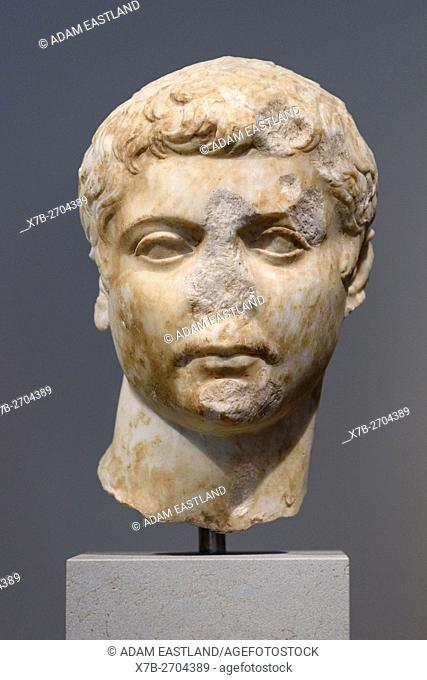 Berlin. Germany. Portrait of a Julio-Claudian Prince, 1-25 AD, Altes Museum. . Marble, from Asia Minor (Turkey). . The arangement of the curls on the forhead...