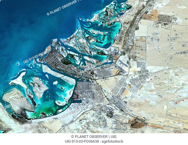 Colour satellite image of Abu Dhabi, United Arab Emirates. Image taken on December 16, 2013 with Landsat 8 data