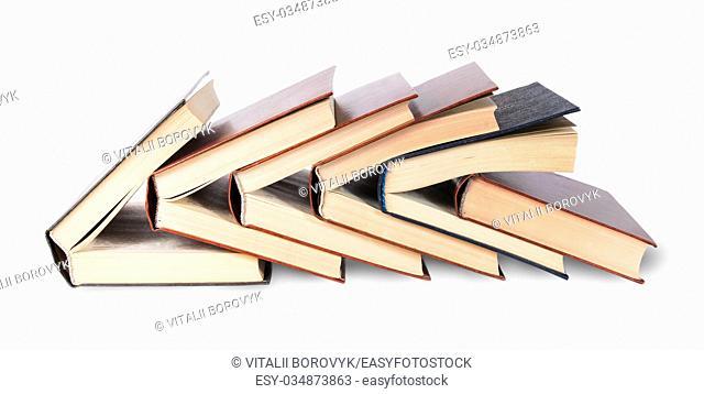 Six of nested books isolated on white background