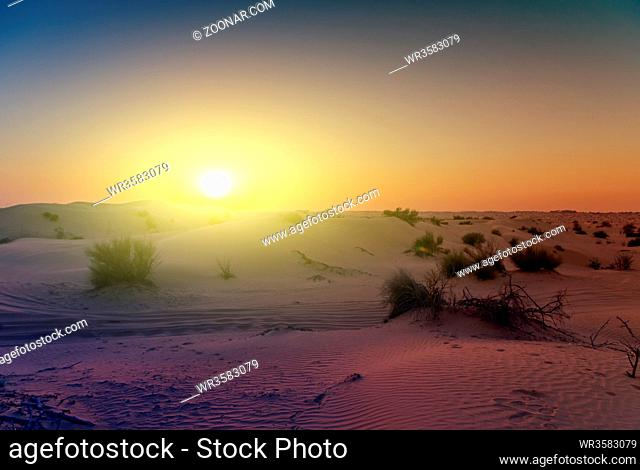 Spring sunset desert sand landscape Dunes background