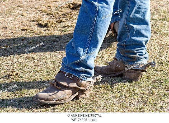 Worn cowboy boots, Alberta, Canada