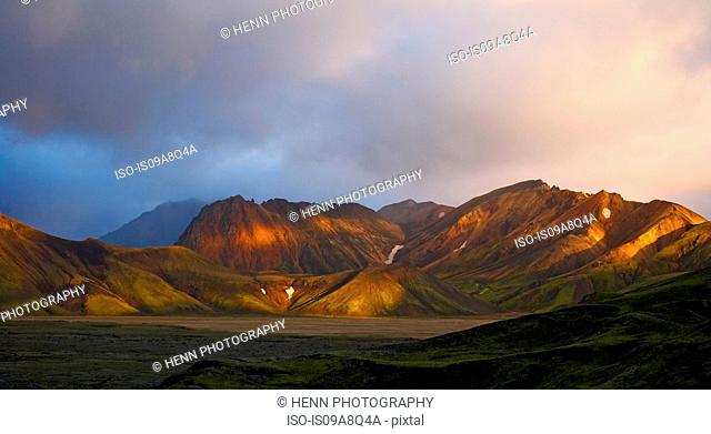 Elevated view of the Landmannalaugar mountains, Iceland