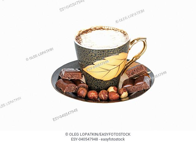 cup of coffee with cream and chocolate on white background