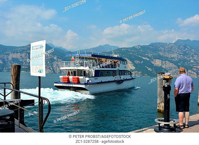 Passenger ship on the Lake Garda in front of Malcesine - Italy