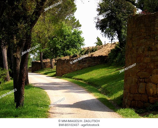 archaeological site with ancient city wall in Ullastret, Spain, Costa Brava