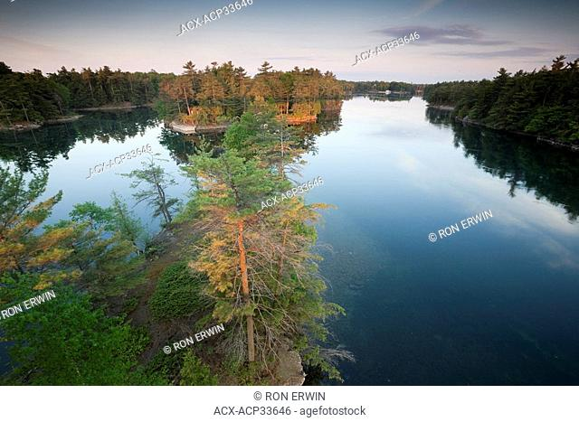 Looking down from the Thousand Islands Bridge at the treetops directly below on Constance Island, one of about 20 islands and 90 islets that are part of the St