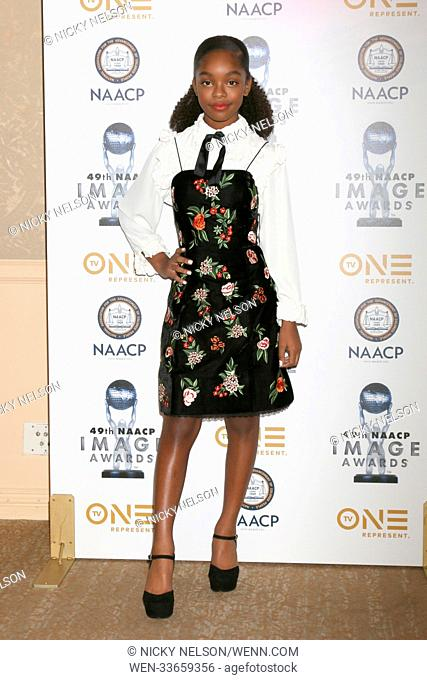 49th NAACP Image Awards Nominees' Luncheon at Beverly Hilton Hotel on December 16, 2017 in Beverly Hills, CA Featuring: Marsai Martin Where: Beverly Hills