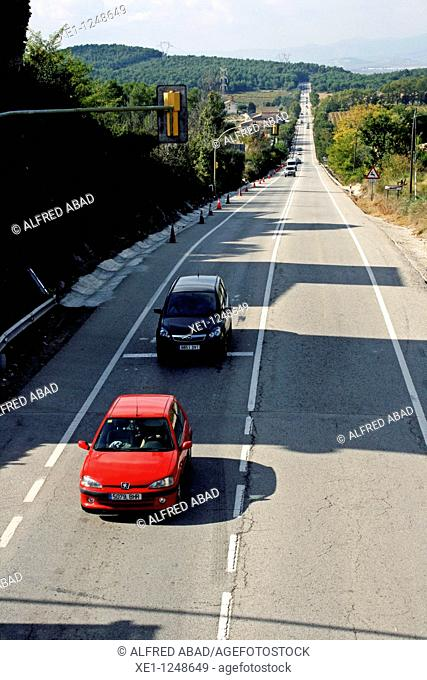 Road traffic, Ordal, Subirats, Catalonia, Spain