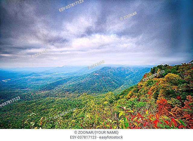 landscapes near lake jocassee and table rock mountain south carolina