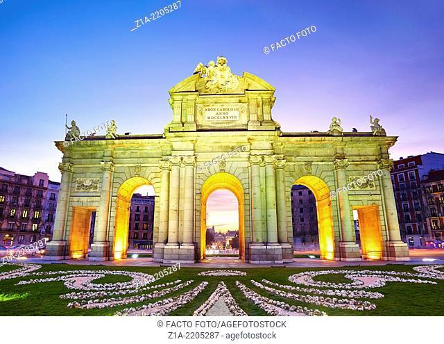 """""""Puerta de Alcala"""" monument by sunset. Madrid, Spain"