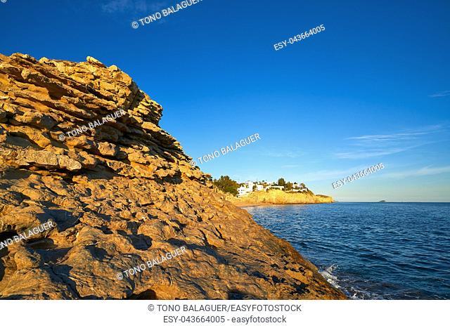 La Caleta beach playa in Villajoyosa of Alicante in Spain also Vila Joiosa at Costa Blanca