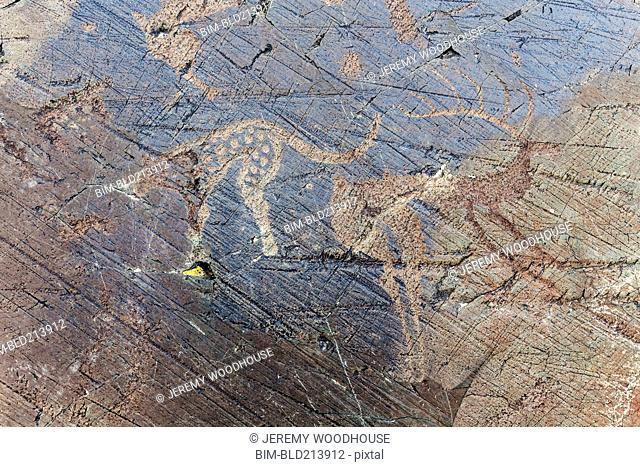 Close up of petroglyphs on rock formations, Altai Tavn Bogd National Park, Bayan Ulgii, Mongolia