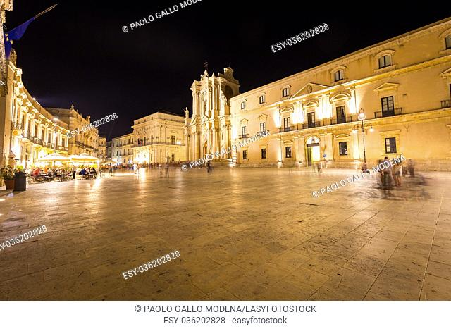 Travel Photography from Syracuse, Italy on the island of Sicily. Cathedral Plaza. Large open Square with summer nightlife