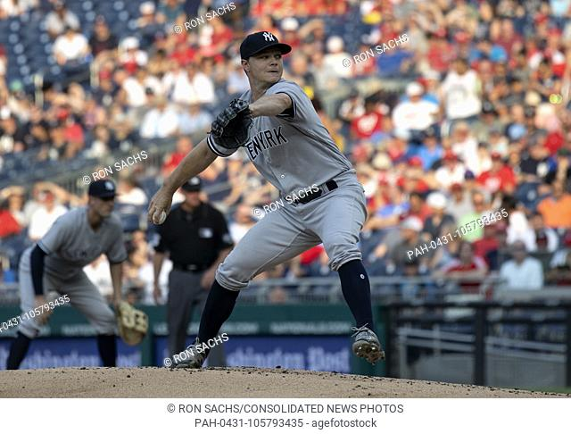 New York Yankees starting pitcher Sonny Gray (55) pitches in the first inning against the Washington Nationals at Nationals Park in Washington, D.C