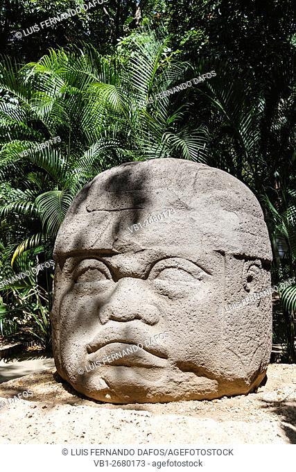 Monument 1 Olmec colossal head at La Venta. Villahermosa, Tabasco, Mexico
