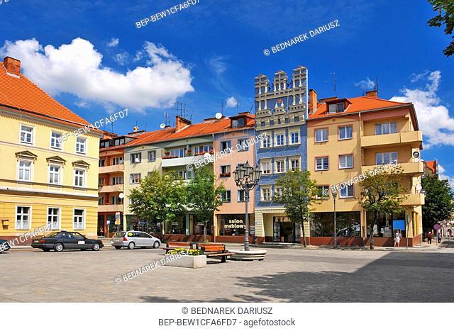 Townhouses at the market in Brzeg, Opole Voivodeship, Poland
