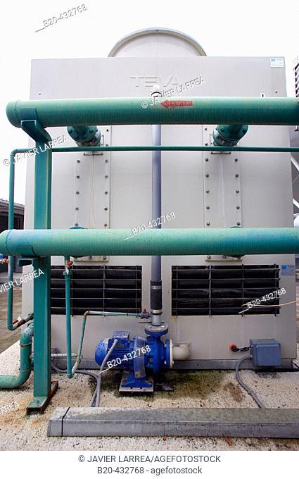 Cooling tower, air-conditioning installation in office building. Parque Tecnológico de San Sebastián, Miramón. Gipuzkoa, Euskadi, Spain