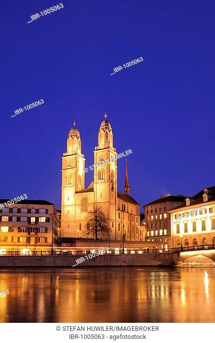 Grossmuenster Church by night, Zuerich, Switzerland, Europe